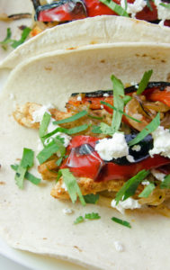 Chicken Tacos with Fire Roasted Red Peppers and Goat Cheese