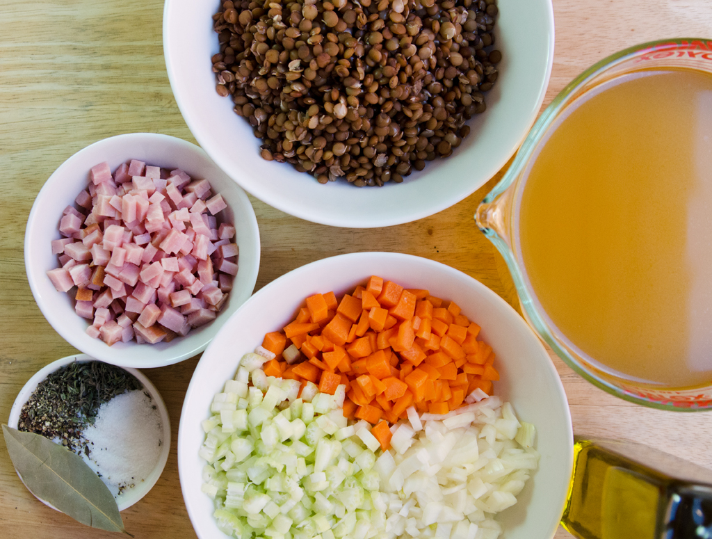 Lentil and Ham Soup Ingredients