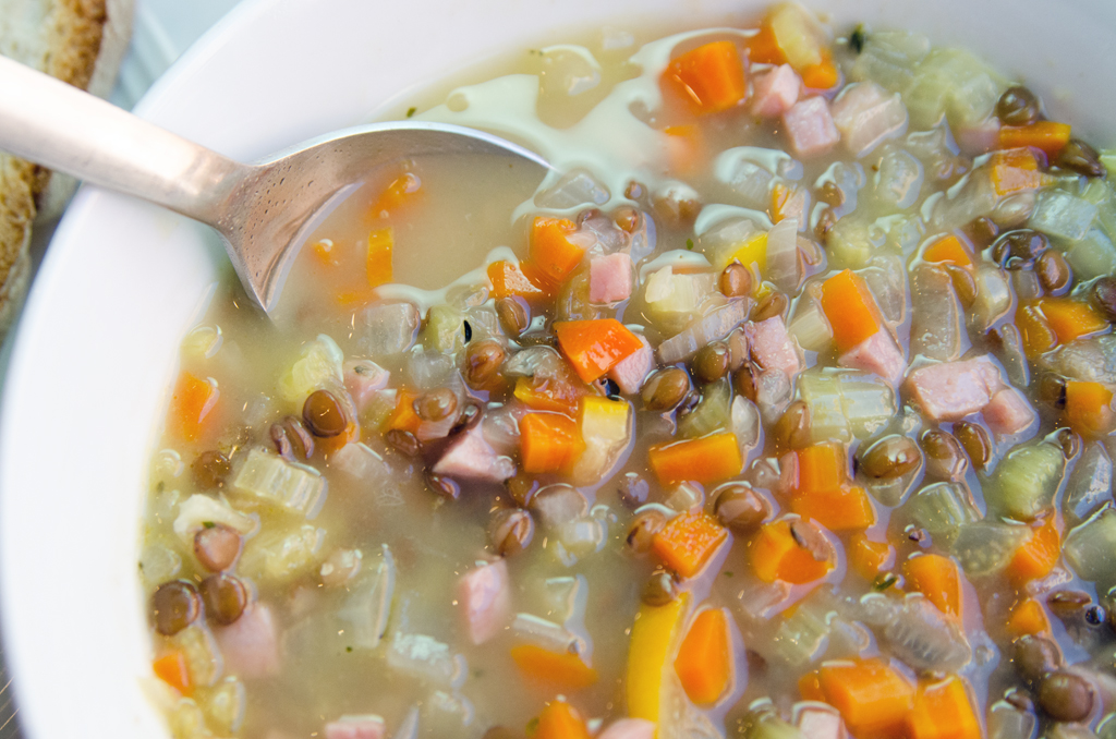Lentil and Ham Soup with Lemon