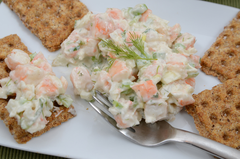 Yogurt Shrimp Salad with Fork
