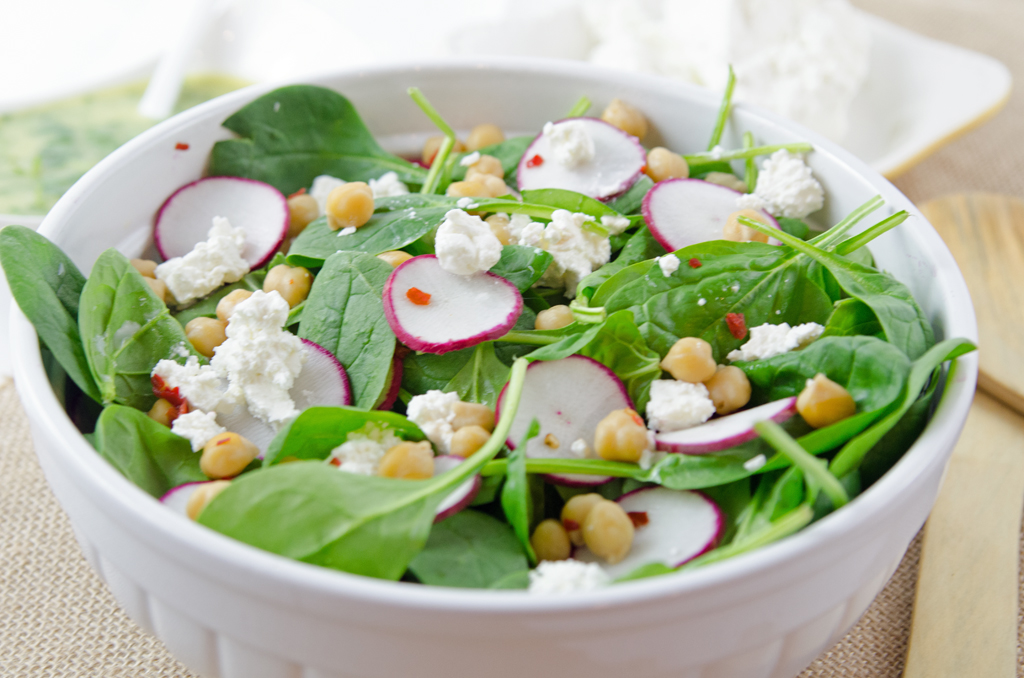 Spinach Salad with Feta Cheese and Chick Peas