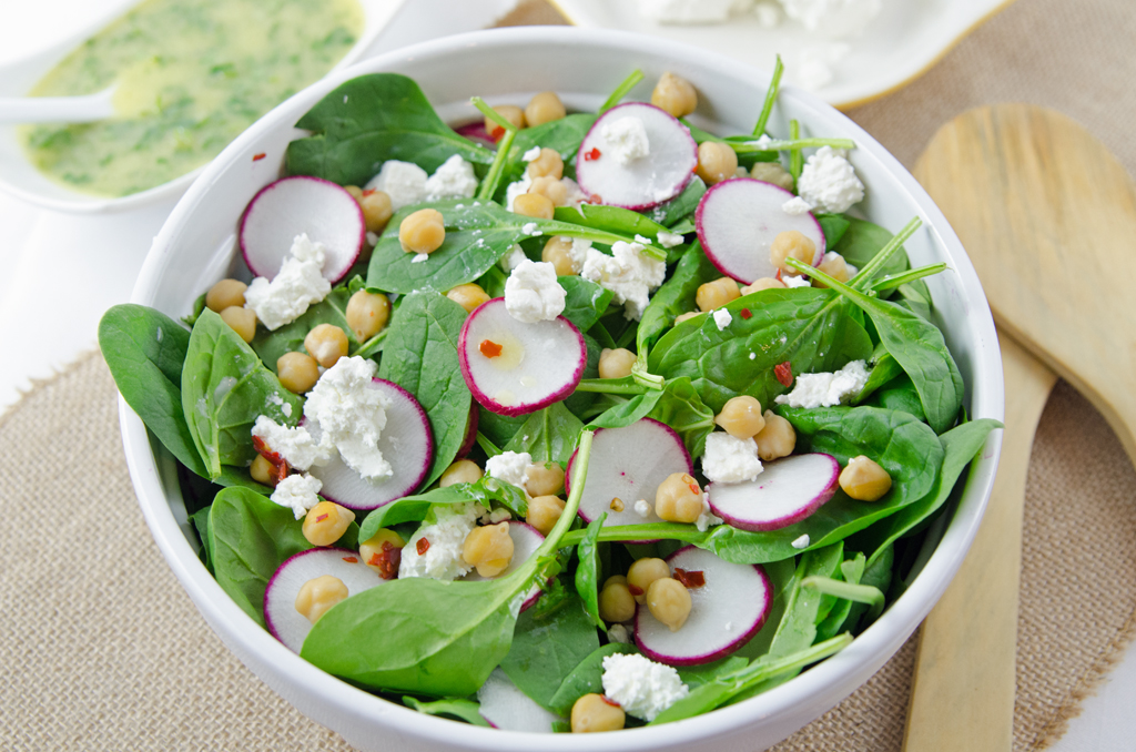 Spinach Salad with Spicy Chickpeas, Feta and Herb Dressing ...