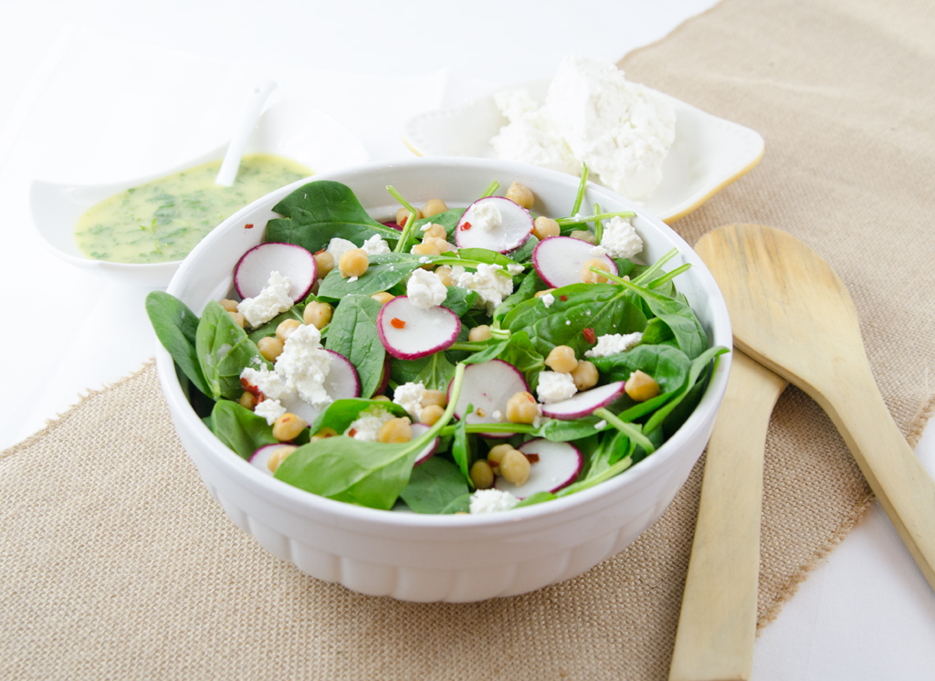 Spinch Goat Cheese and Garbanzo Bean Salad