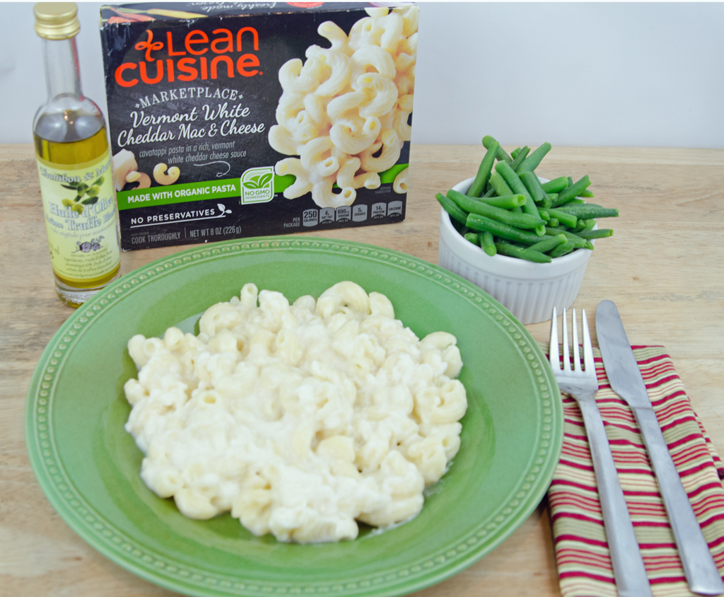 Mac n Cheese with Green Beans and Truffle Oil