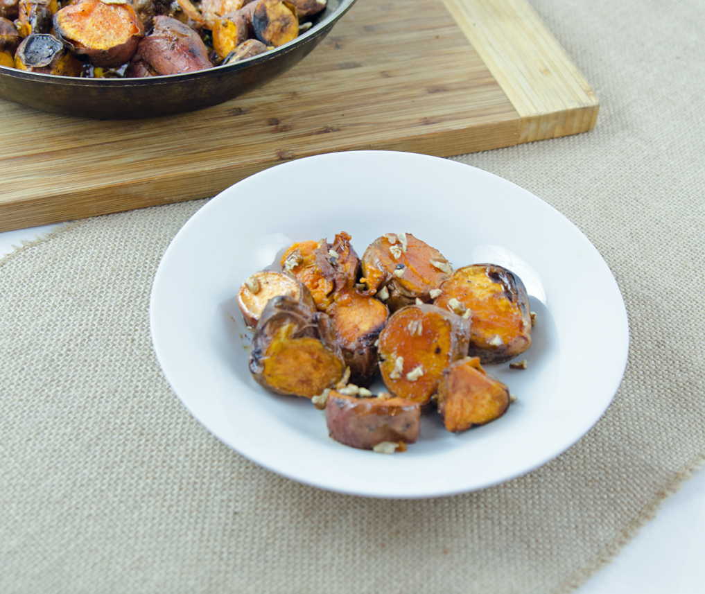 Maple Bacon Glazed Sweet Potatoes with Pecans - A Well Fed ...