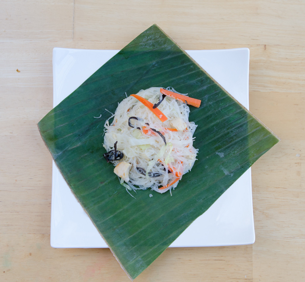 Pancit Bihon Noodles on Banana Leaves