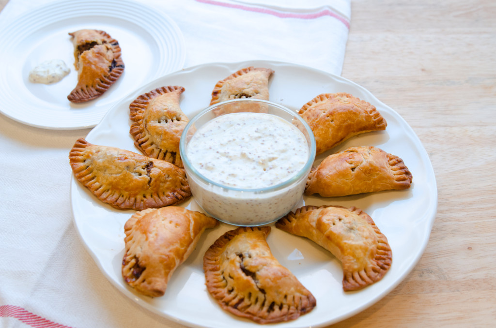 Easy Sweet and Sour Beef Hand-Pies with Mustard Dipping Sauce