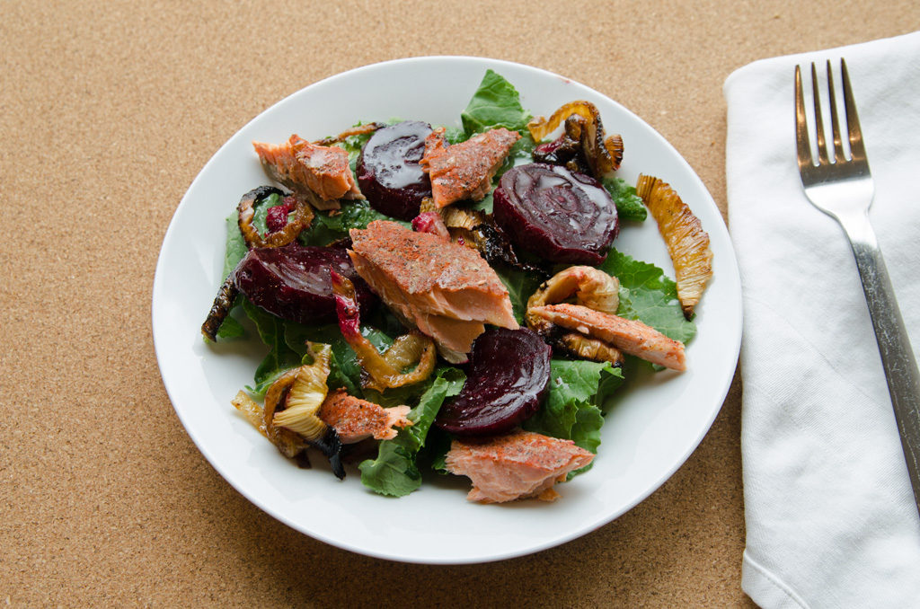 Spiced Salmon, Roasted Beet and Leek Salad