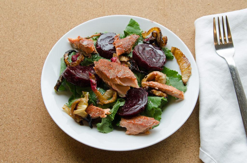 Spiced Salmon, Roasted Beet and Leek Salad