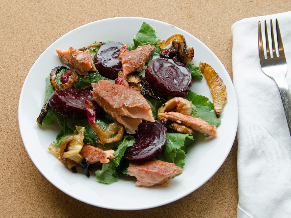 Spiced Salmon Beet and Leek Salad