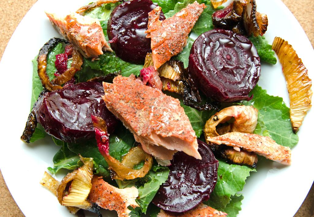 Spiced Salmon Roaste Leeks and Beets Salad