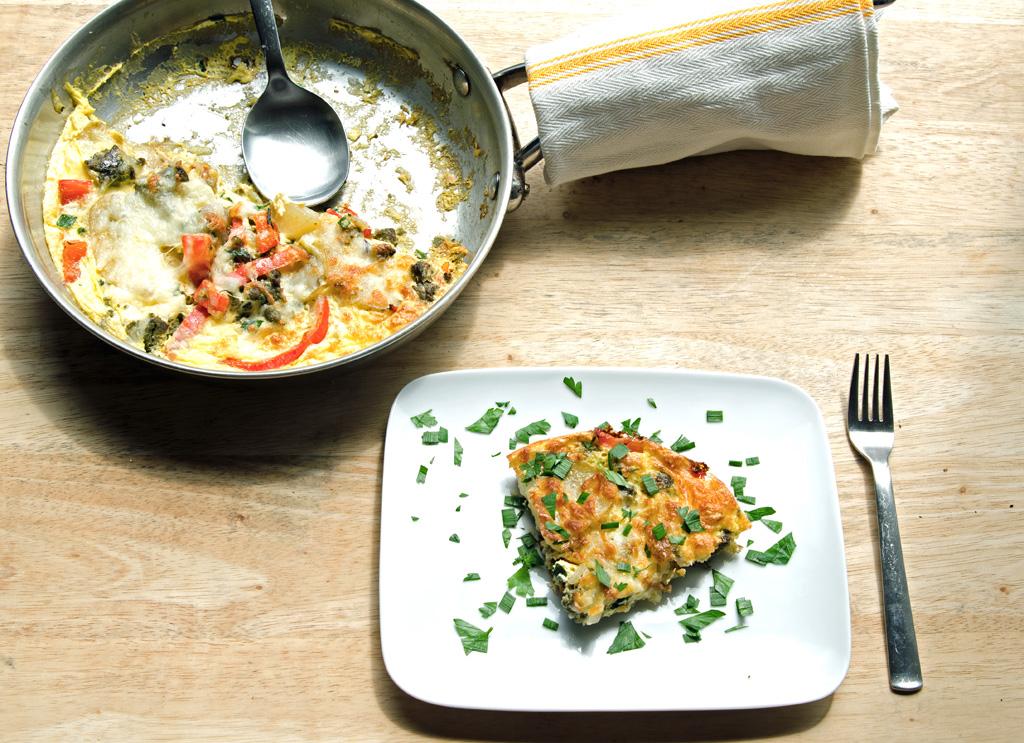 Green Chorizo and Red Pepper Frittata - A Well Fed Life