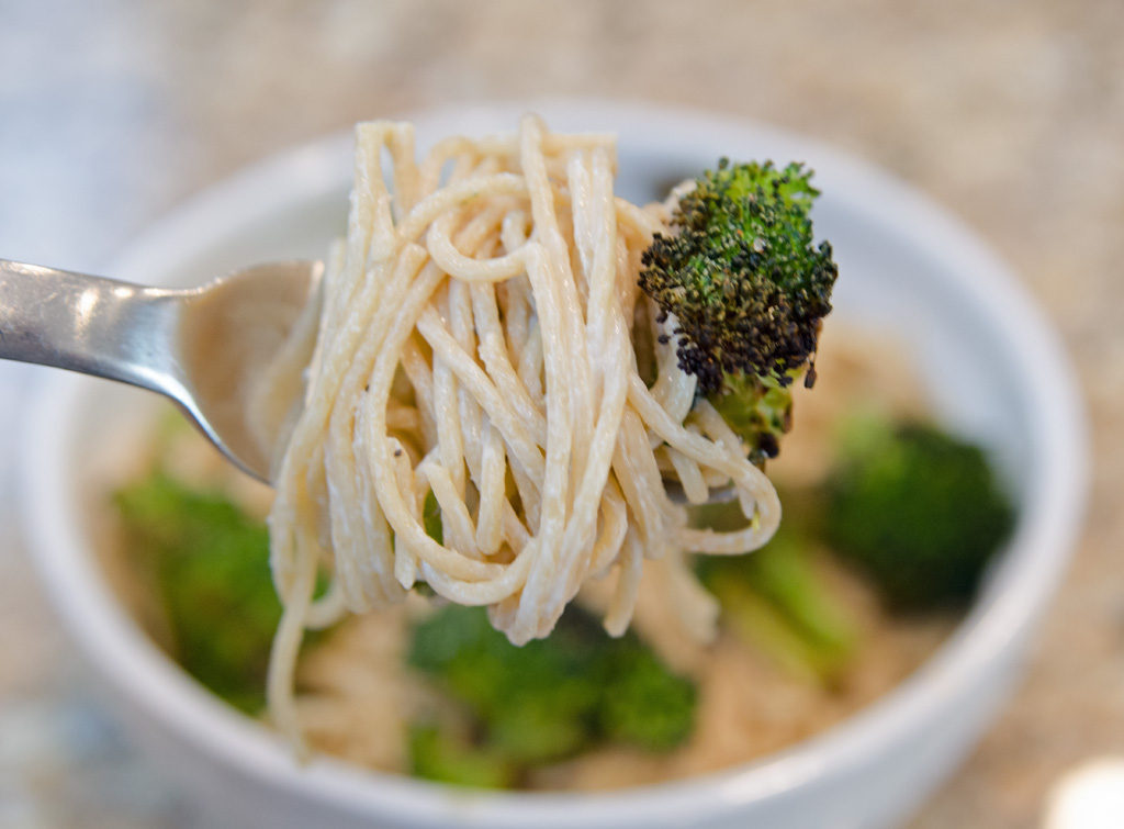 Creamy Asiago Spaghetti with Spicy Roasted Broccoli