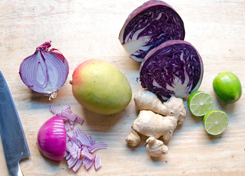 Ginger Lime Mango Slaw Ingredients
