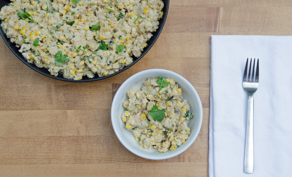 Serving of Corn and Hominy Skilet