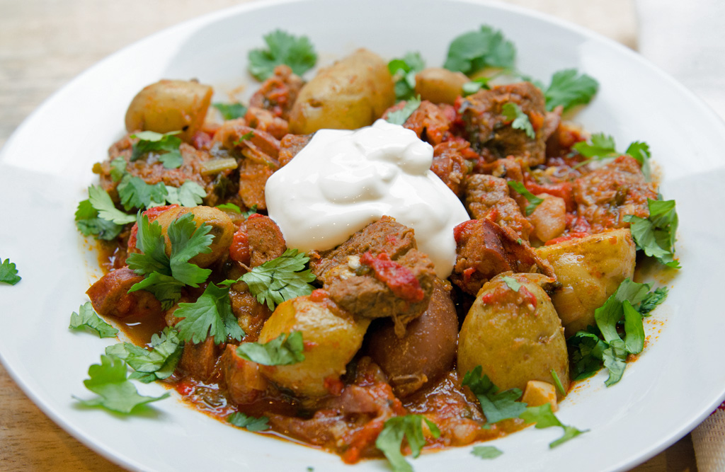 Healthy Spicy Beef and Chorizo Stew