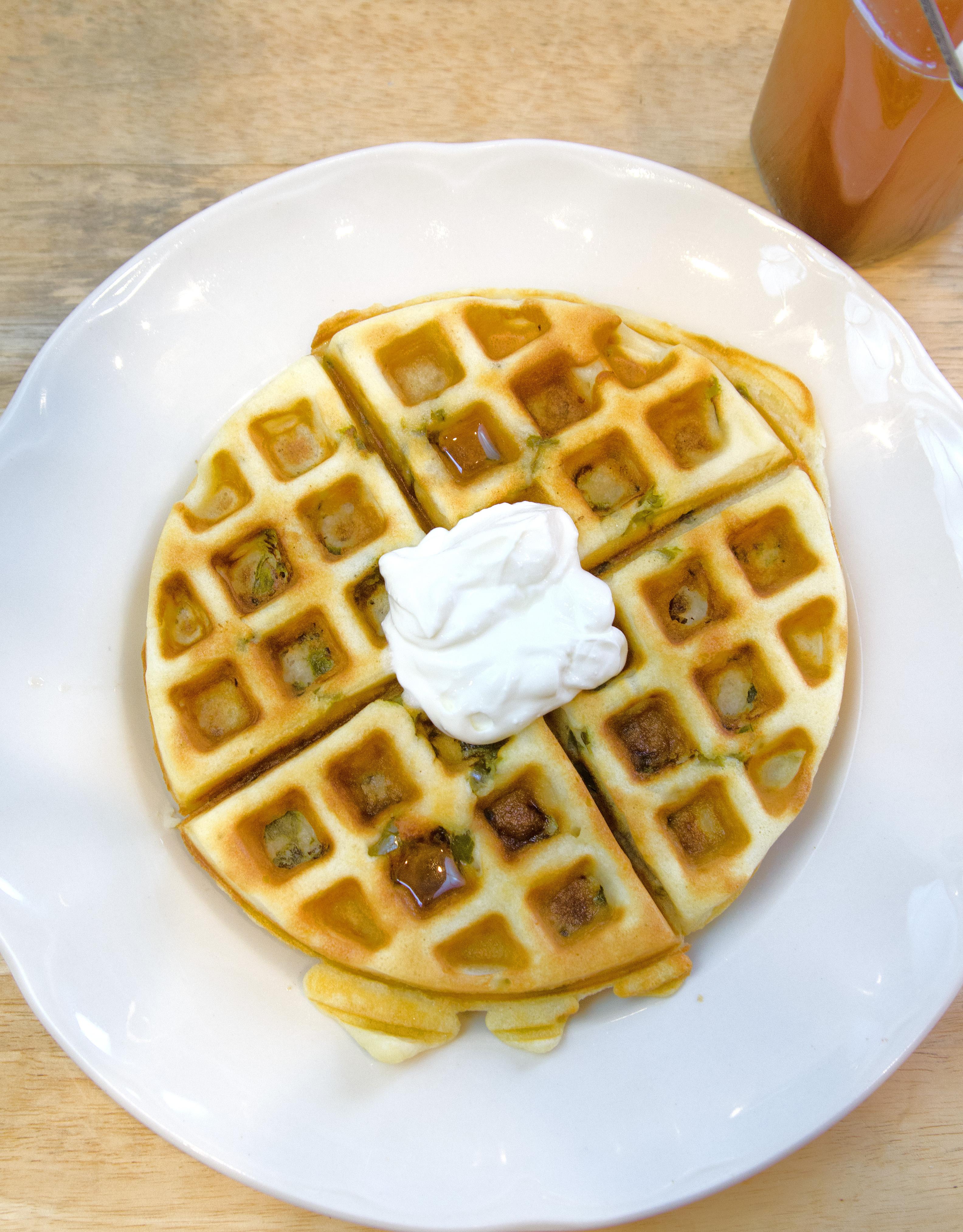 jalapno-waffles-with-honey-syrup