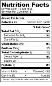 balsamic roasted cauliflower nutrition label