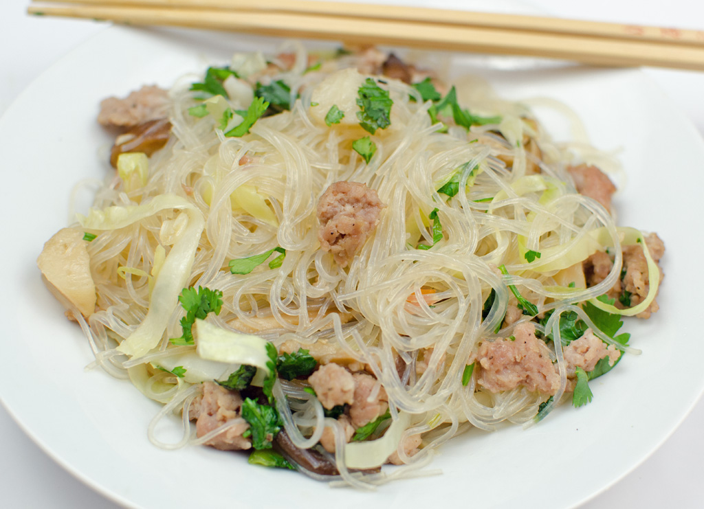Filipino Inspired Noodles with Pork and Mushrooms