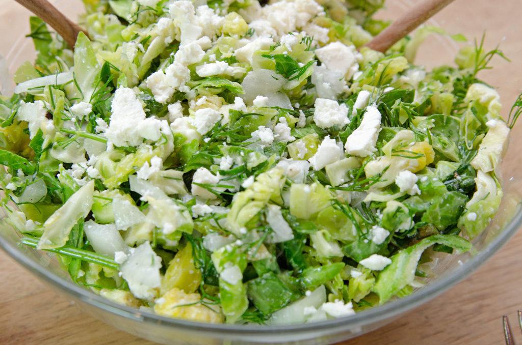 Brussels Sprouts Feta Salad Pistachios