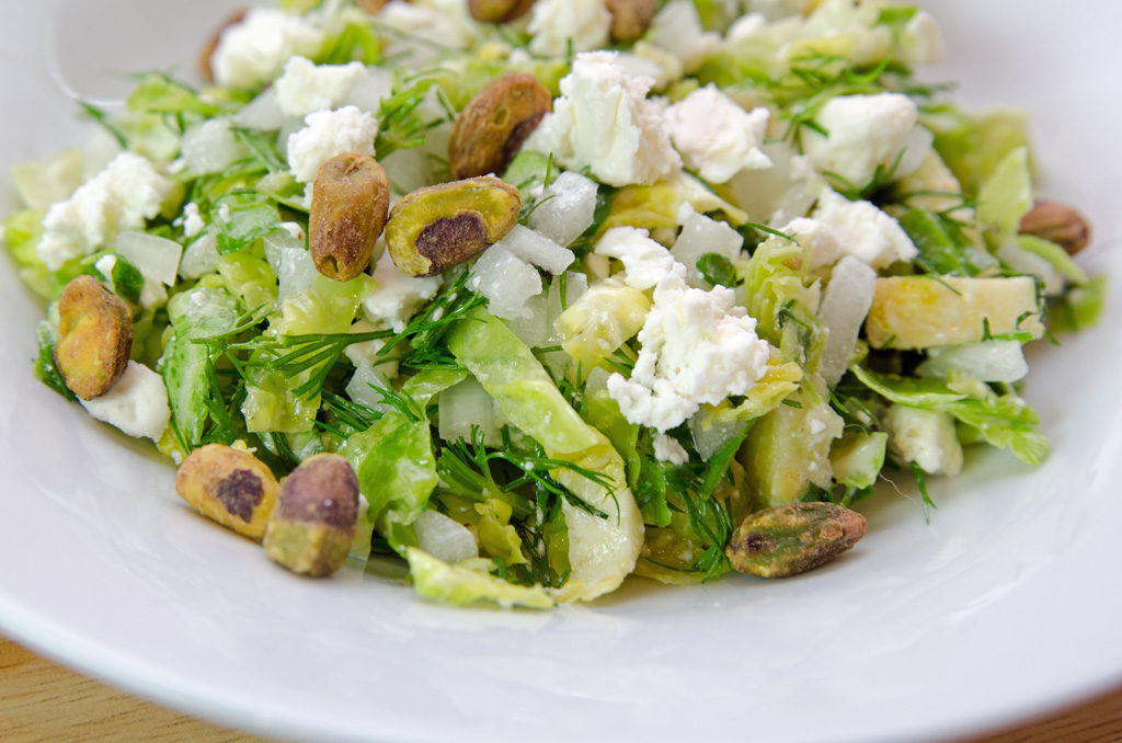 Brussels Sprout Salad with Feta Cheese and Pistachios