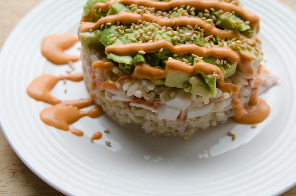 Crab and Avocado Sushi Stack