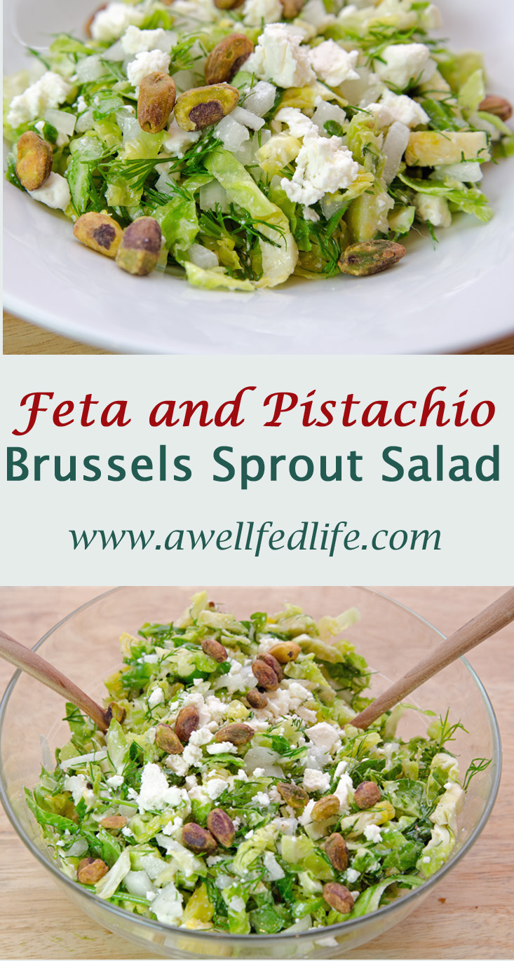 Brussels Sprouts Feta Salad with Pistachios