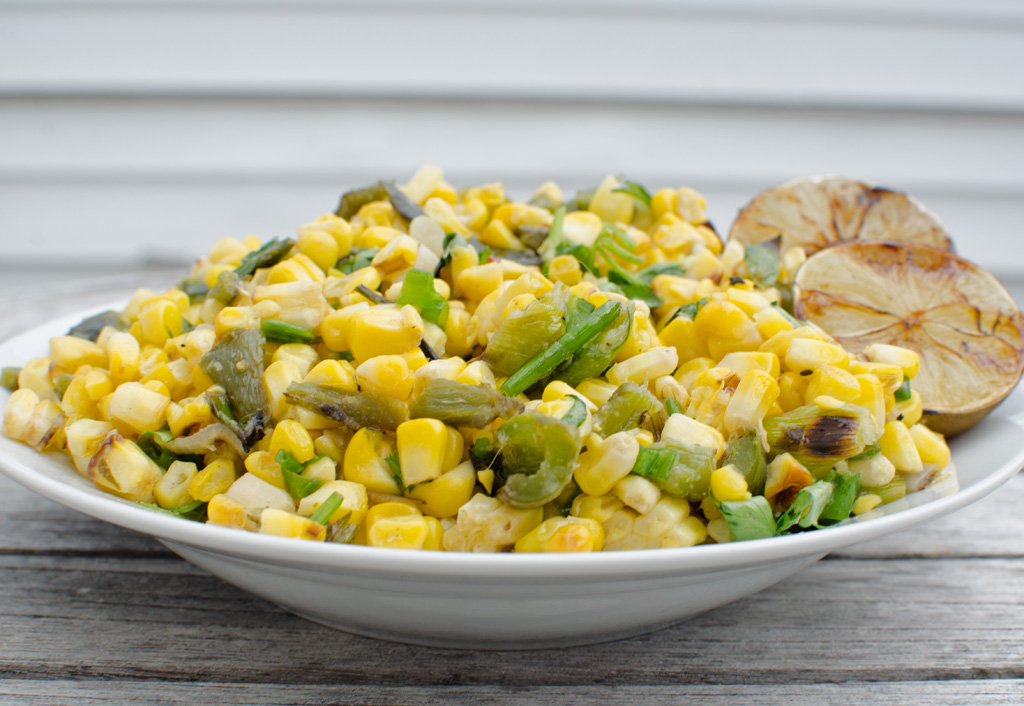Roasted Corn Salad with Poblano Peppers and Grilled Limes