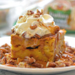 Turano Pumpkin Bread Pudding with Salted Caramel and Pecans
