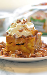 Pumpkin Bread Pudding with Toasted Pecans and Salted Caramel Sauce